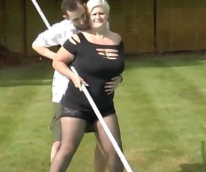 Chubby blonde cougar gets banged by pool boy