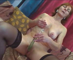 Granny Ivet Riding Younger Long Dong On Couch