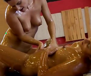 Babes Oil Each Other Up