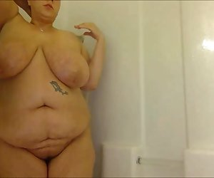 Fat Woman With Huge Tits Taking a Shower