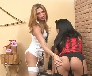Nicole and Patricia leggy shemales on video