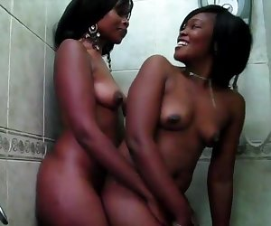 2 big booty African share hot shower