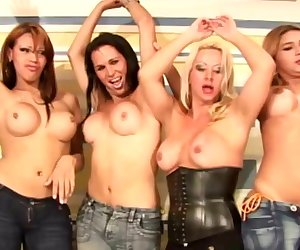 Slutty shemales in jeans playing with shecocks in foursome