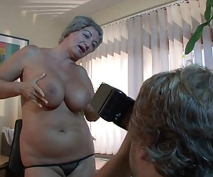 Mature BBW takes a load on her huge natural tits