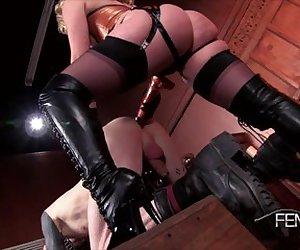 Beautiful blonde Mistress pegs her slave