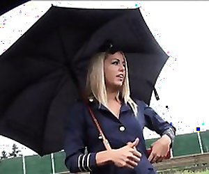 Sexy stewardess nailed by stranger dude to return the favor