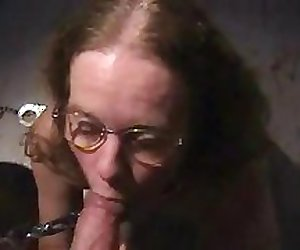 HANDCUFFED LIBRARIAN BEGS TO SUCK COCK