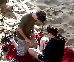 Amateur couples filmed fucking on the beach