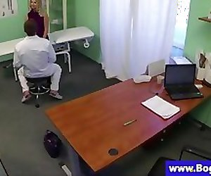 Blonde patient gets her tits inspected