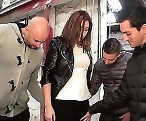 Horny teen Sonia fucked by 3 guys