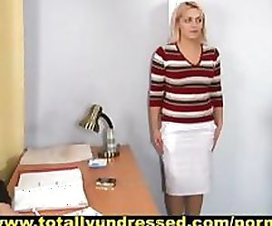 Humiliating nude job interview for busty blonde