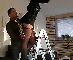 Blond German chick needed help changing the light bulb