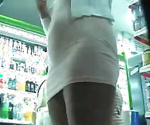 Upskirt in Supermarket Store NO PANTIES and Piercing