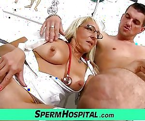 Hot blonde mom Marketa cfnm sex with patient