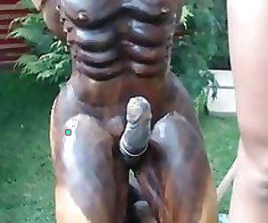 girl fucks statue