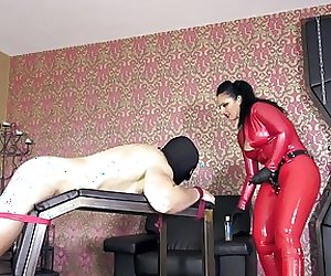 Bound slave facefucked & straponized by red latex mistre