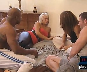 First time swingers get with another couple in a foursome