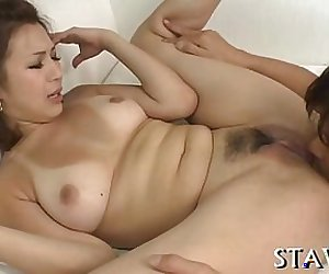 Hot trimmed Japanese babe with big tits jammed with dick
