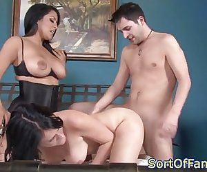 Bigtitted stepmom facesits in forbidden trio