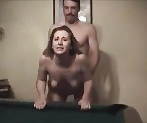 gorgeous wife smiles at cuckold while bull fucks her