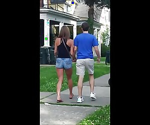 Candid hot ass brunette in tight jean shorts