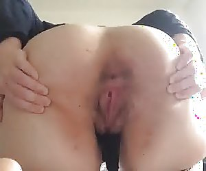 Whore showing her hairy holes
